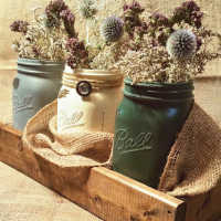 Dried Flower Painted Mason (Ball) Jar Set