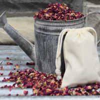 Rose Buds and Petal Muslin Sachets