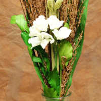 Dried White Rose Grass Bouquet