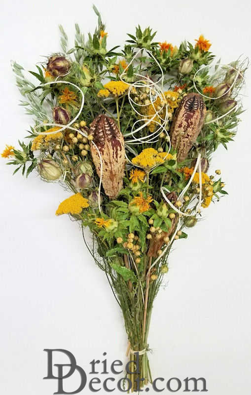 Dried Yellow Flower and Pod Bouquet - Dried Flower Bouquet