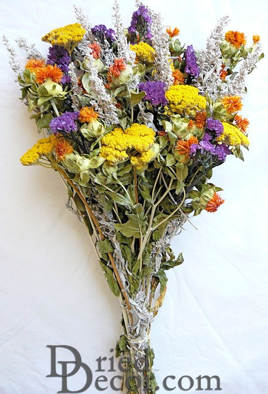 Dried Flower Bunch Yellow Bouquet Larger Image