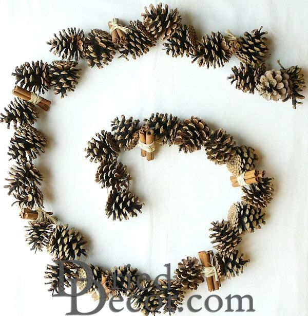 Pine Cone Garland (6 or 12 foot) with Cinnamon Sticks - Click Image to Close