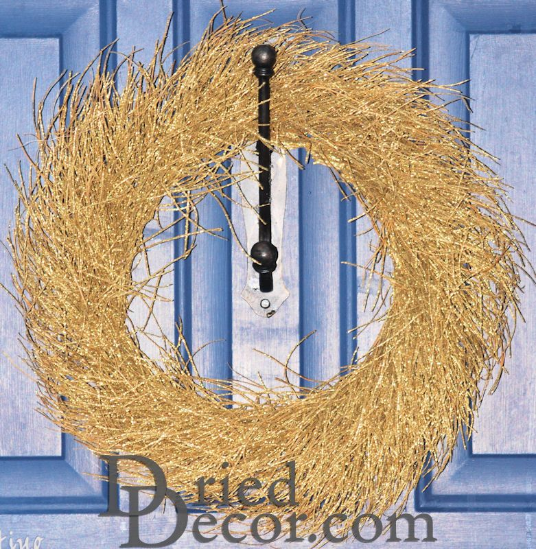 Decorative Gold Twig Wreath - Click Image to Close