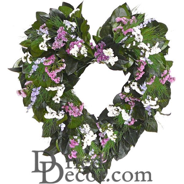 Dried Beautiful Flower Heart Wreath - 22 inch - Click Image to Close