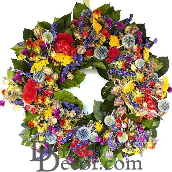 Hot Summer Garden Wreath - 20 inch - Click Image to Close