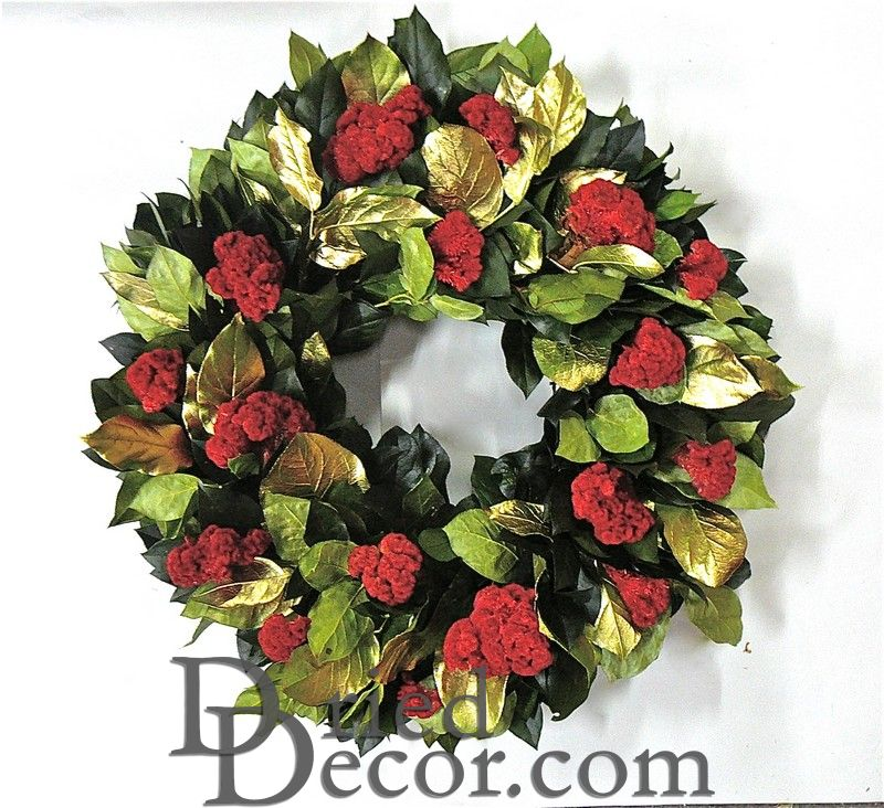 Dried Gold Holiday Celosia Flower Wreath - Click Image to Close