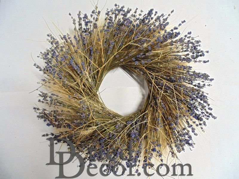 Dried Wheat and Lavender Wreath - Click Image to Close