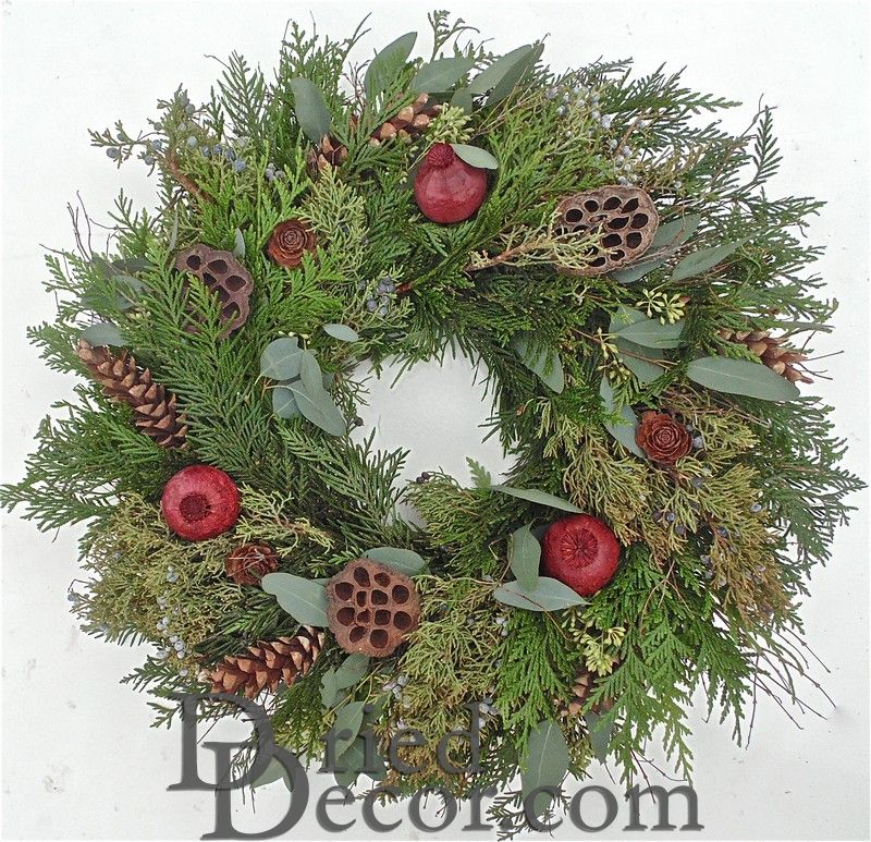 Fresh Rustic Holiday Wreath - Click Image to Close