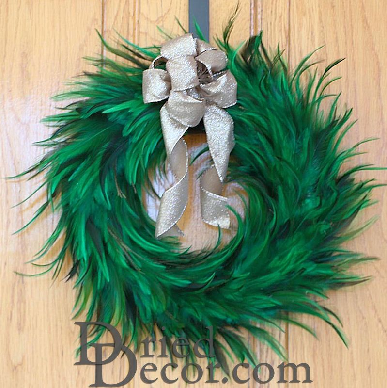 Green Hackle Feather Wreath 18 inch diameter - Click Image to Close