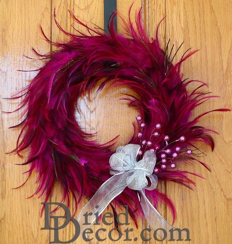 Pink Hackle Feather Wreath 18 inch diameter - Click Image to Close