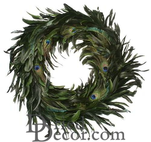 Peacock Feather Wreath - 14-18 inch wreath - Click Image to Close