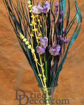 Dried Purple Yellow Flower Bouquet