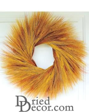Stained Orange Wheat Wreath - 19 inch