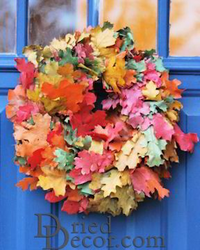 Dried Fall Leaves Wreath