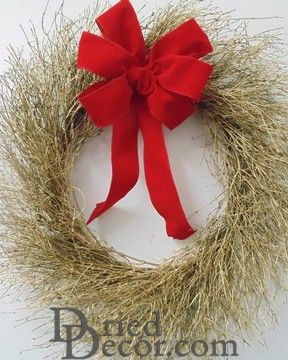 Dried Gold Quail Brush Wreath - Christmas