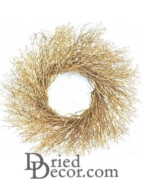 Dried Gold Quail Brush Wreath