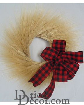 Natural Holiday Wheat Wreath - 19 inch with Plaid Bow
