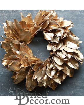 Dried Magnolia Wreath - Gold 24 inch