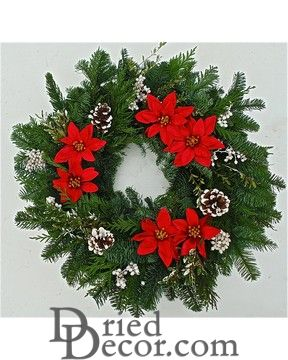 Fresh Poinsettia Wreath