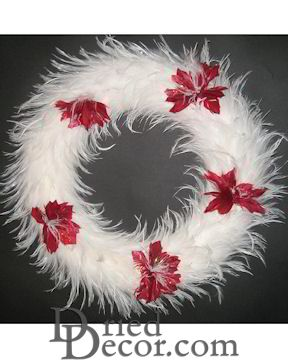 White Hackle Feather Wreath - 15 inch