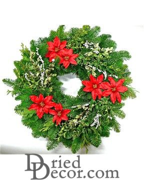 Fresh Holiday Poinsettia Noble Fir Wreath