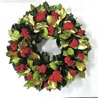 Dried Gold Holiday Celosia Flower Wreath
