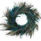 Peacock Feather Wreath - Turquoise 14-18 inch