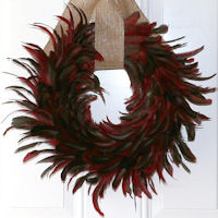 Burgundy Coque Rooster Feather Wreath 18 inch diameter