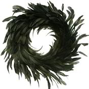 Green Coque Rooster Feather Wreath 18 inch diameter